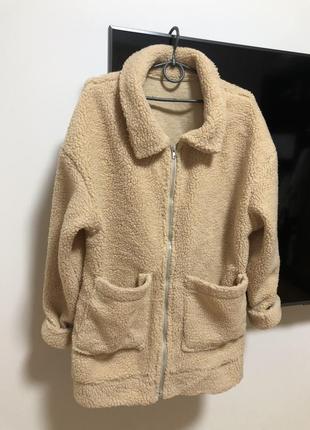 Шубка пальто барашек дубленка на молнии с карманами телесная демисезонная