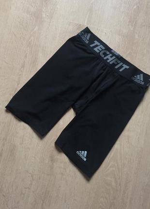 Компрессионные, чёрные , термо шорты adidas techfit