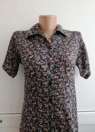 Блуза коричневая зеленая принт
