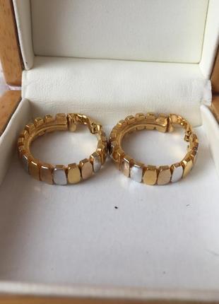 Trifari crown винтажные серьги клипсы  кольца золотисто-серебристые