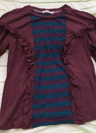 Кофта женская лёгкая бордовая с полосами лонгслив брендовая распродажа