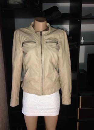 Называйте свою адекватную цену!!суперская нюдовая пудровая куртка кожанка не косуха