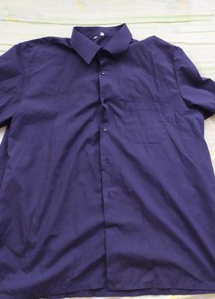 Синяя мужская рубашка с коротким рукавом со стоячим воротником. распродажа