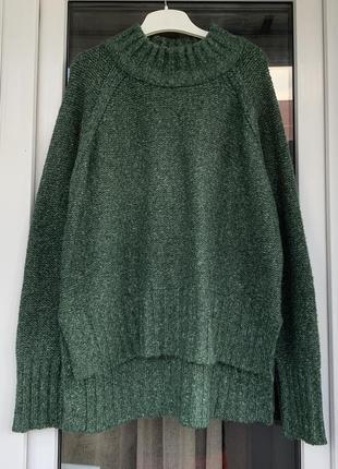 Esprit зелёный свитер оверсайз с высокой горловиной м-л