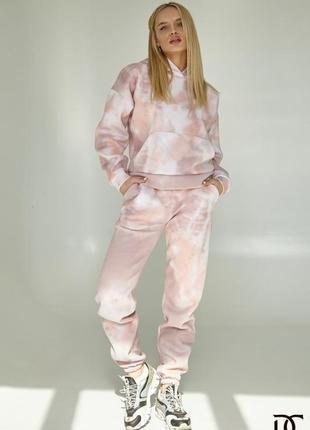 Теплый костюм из трикотажа трехнитки акварельный принт
