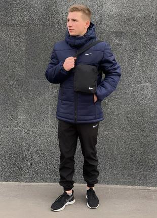 """Зимний мужской комплект """"euro"""" синяя + штаны утепленные. барсетка и перчатки в подарок!"""