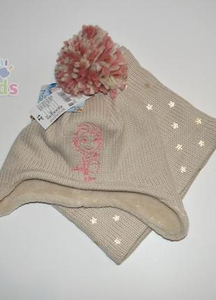 Прекрасна шапка на флісі, шапочка, снуд на флисе kiabi 1,5-2-3 года, набор