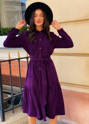 Вельветовое платье длинное с поясом макси фиолетовое