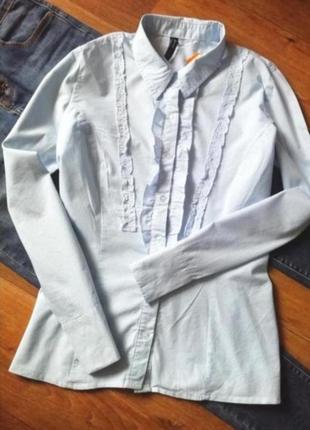 Рубашка в голубую полоску, сорочка, блузка, классическая блузка, с рюшей