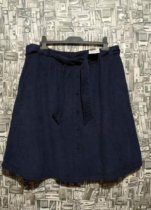 Миди юбка на поясе, карманы, микровельвет, большие размеры, yessica.