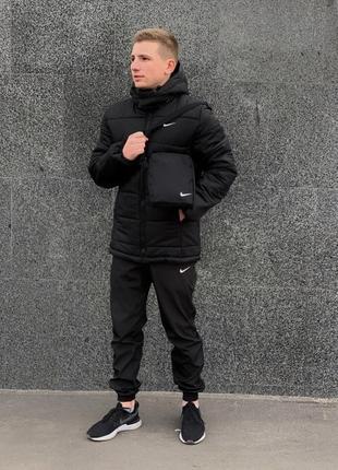 """Зимний комплект """"euro"""" черный + штаны утепленные. барсетка и перчатки в подарок!"""