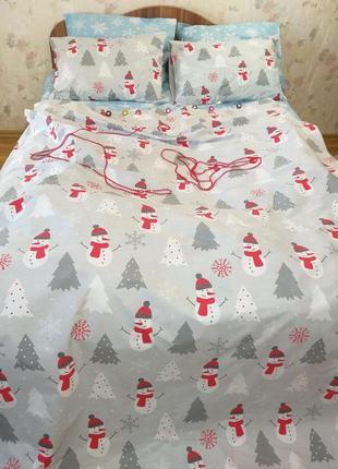 Снеговички серые - новогоднее турецкое постельное