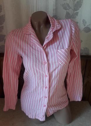 Рубашка спальная розовая в полоску