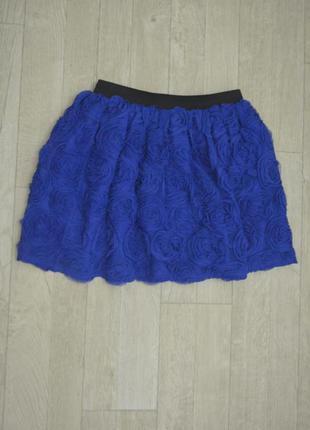 Космическая фактурная темно синяя юбка