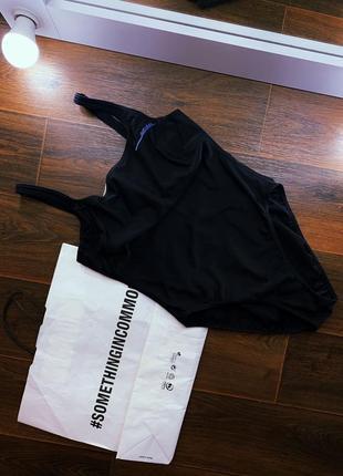 Черный сдельный спортивный купальник тм adidas