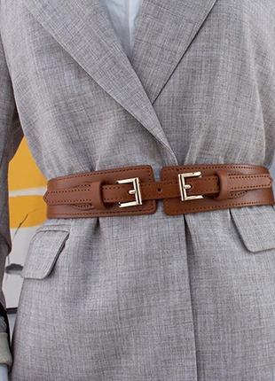 Ремень женский широкий эко-кожаный пояс на талию коричневый с двумя пряжками