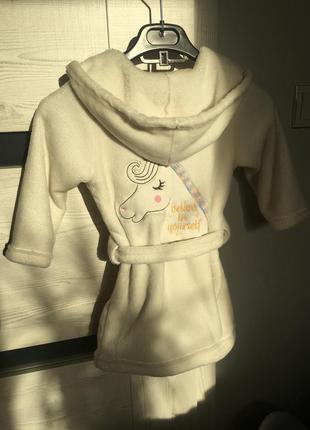 Домашний халат на девочку 3-4 года единорог
