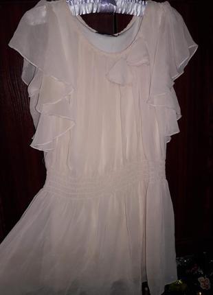 Платье туника бежевая нюдового цвета