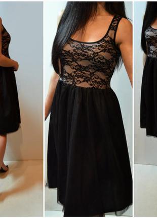 Новое шикарное черное платье с пышным низом