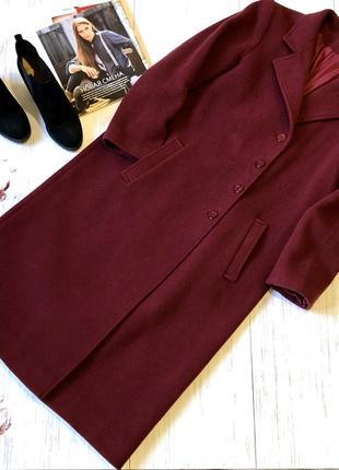 Шерстяное пальто бордо