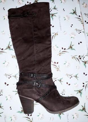 🎁1+1=3 фирменные замшевые высокие сапоги на каблуке graceland демисезон, размер 38