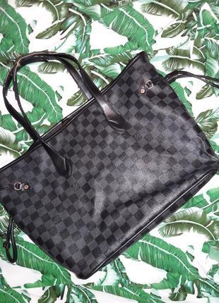 Черная сумка шоппер луи витон lv louis vuitton