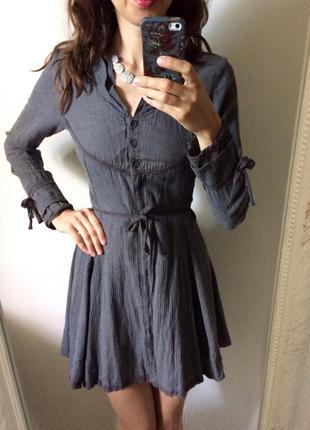 Теплое платье на пуговицах с длинным рукавом размер xs s