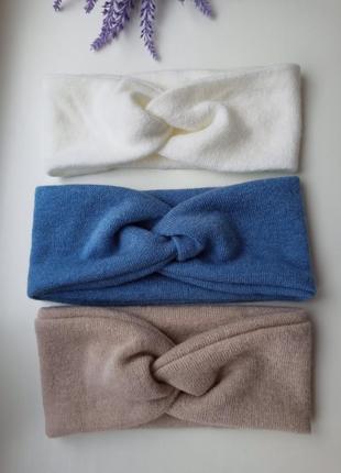 Комплект повязок чалма теплая повязка ангоровый трикотаж ог 53-54 см