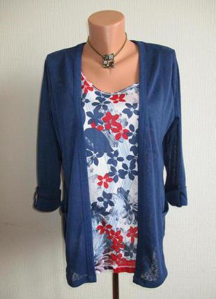 Трикотажная блуза с хлопковой вставкой marks&spencer