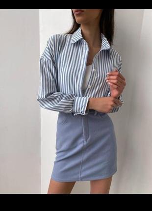 Рубашка в полоску, рубашка оверсайз, бойфренд, сорочка, блузка, прямая, с карманом