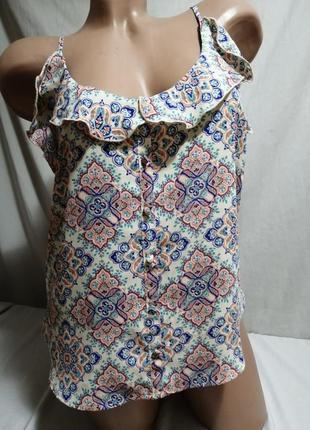 Майка блуза принт с рюшей воланом