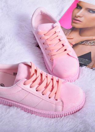 Нежно светло розовые замшевые криперы криперсы кеды кроссовки на толстой подошве