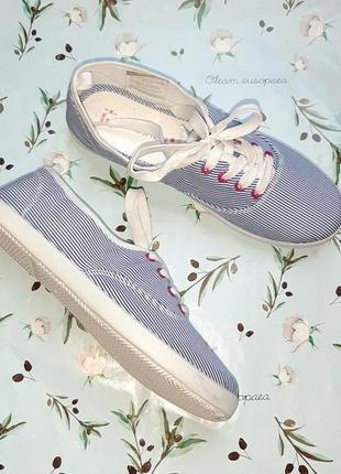 🎁1+1=3 стильные бело-синие кроссовки кеды в полоску atmosphere, размер 38