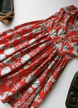Хлопковое пышное платьице цвета красный коралл в принт ракушки/кораллы - atmosphere