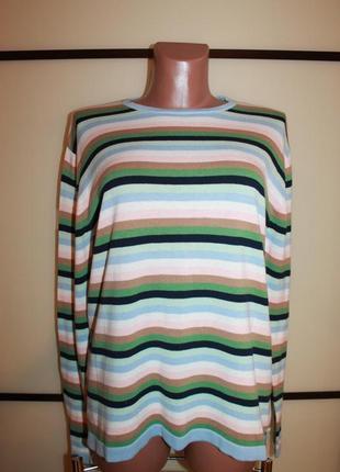 Котоновый свитер джемпер в полоску  base london  на 48-50 р