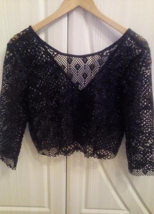 Ажурная, кружевная блуза, кроп- топ h&m. размер 38.