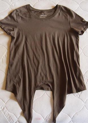 Майка-футболка с завязками хаки ovs m хлопок