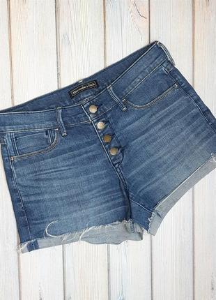 💥1+1=3 стильные джинсовые шорты с подворотом abercrombie&fitch, размер 44 - 46
