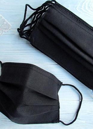 Маска защитная одноразовая повышенной плотности 100 г/м, черная 50 шт