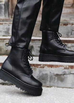 Dr.martens jadon  mono black  ( fur ) без замку  🔻 женские ботинки доктор мартинс
