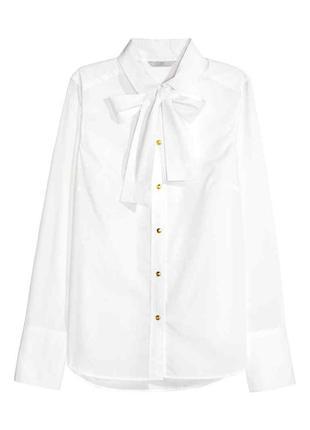 Белая хлопковая рубашка с завязкой h&m
