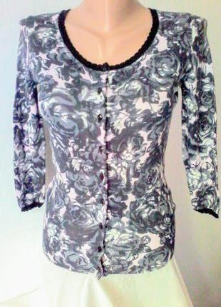 Нежный  миниатюрный кардиган h&m, блузка, 50%хлопок, 50%модал 32 размер