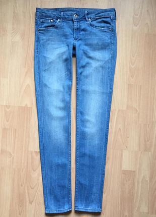 Голубые джинсы скинни узкие h&m