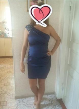 Платье коктельное синее