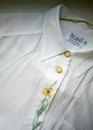 Delmod белоснежная рубашка с вышивкой