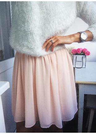Нежная пудровая шифоновая юбка солнце