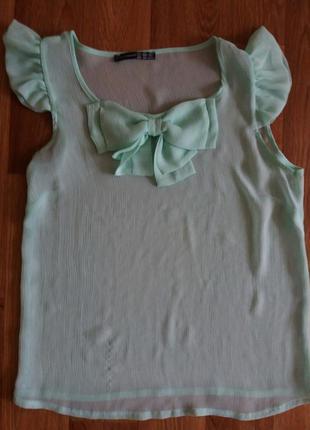 Новая зеленая блузка с бантиком