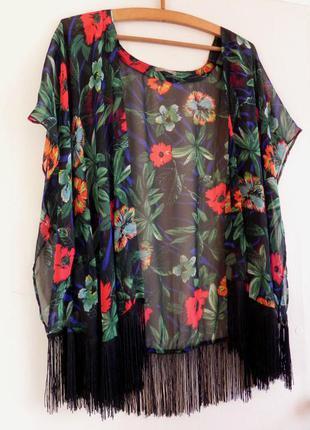 Накидка,кимоно в цветочный принт с бахромой