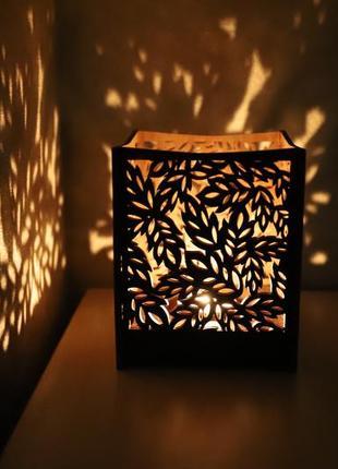 Підсвічник дерев'яний, домашній декор,листя, подсвечник деревянный, домашний декор,листья