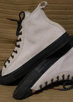 Высокие белые комбинированные кожаные кеды converse all star 43 р.( 28 см.)